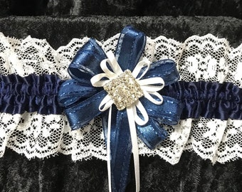 Navy blue satin and white  lace wedding or prom garter navy and white ribbons with rhinestone center