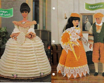 17th century ball Gown and Yesteryer Outfits Crochet Patterns Annie's fashion doll Crochet Club FCC03-04 & FCC06-04