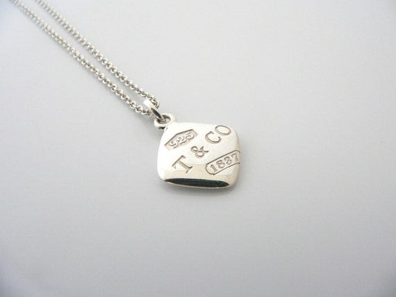 Tiffany co silver 1837 square charm pendant necklace chain like this item aloadofball Images