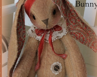 Bunny Pattern Binny the Bunny Primitive Pattern PDF Pattern Rag Doll Pattern Sewing Pattern Patterned PDF Patterns