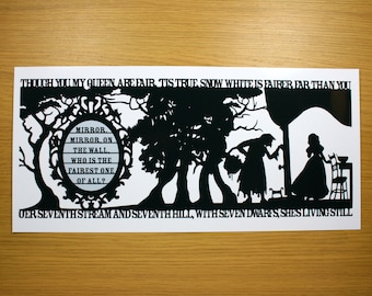 Snow White's Mirror Signed PaperCut Print • Fairytale Wall Art • Paper Cut Quote
