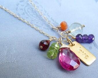 Yoga Jewelry Gold Love Necklace Yoga Necklace Love Jewelry Gold Charm and Gemstones, Peridot, Garnet, Amethyst, Carnelian, Quartz