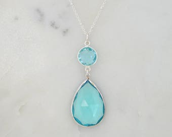 Aquamarine Necklace, March Birthstone Necklace, Large Pendant Silver Necklace, Natural stone Necklace, Blue Topaz Necklace, Gift for her