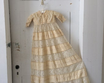 Antique Victorian Embroidered Cream Silk & Lace Inserts Baby Christening Baptismal Gown Dress Full Skirt