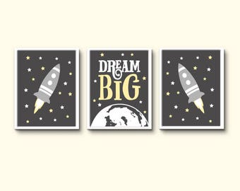 Space themed room boys bedroom print grey and yellow wall decor