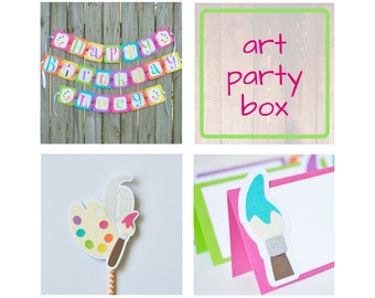 Art Party Birthday Package Box with Cake Topper