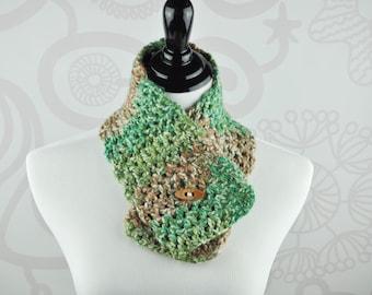 Crochet Neckwarmer - Green, Brown, and Cream - Scarf