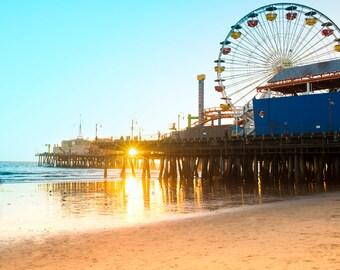 Santa Monica Pier Photograph, Los Angeles Photo,