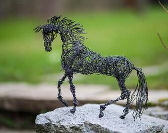 Metal Sculpture, Wire Art, Horse Sculpture, Miniature Animals, Horse Decor, Industrial Decor, Birthday Gift, Wire Horse, Horse Figure