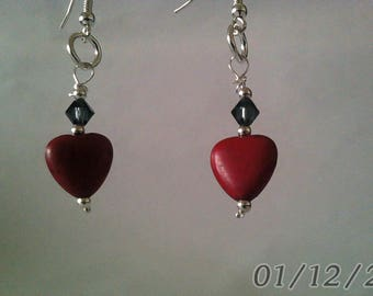 Red Jasper Hearts with a Black Swavorski Crystal