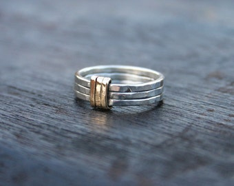Sterling Silver and Gold Band Ring. Silver and Gold Wedding Band. Unique Silver and Gold Ring. Mixed Metal Ring Band with 14k Gold