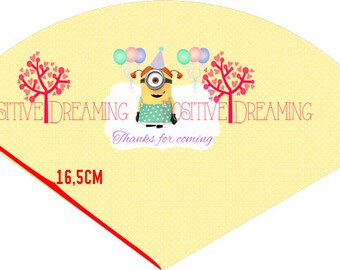 Minions Printable Cone for girls - Instant Download