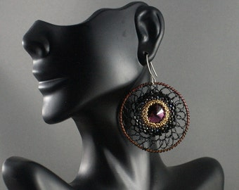 Big round mesh earrings with Swarovski crystals. Large hoops. Circles earrings. Fashion jewelry.