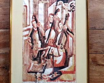 Hannah Tompkins Woodcut Print, Three Bases, American Art, Modern Art,  Hannah Tompkins, Hannah Tompkins Painting