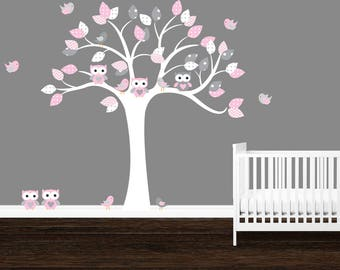 SALE, Owl tree wall decal, Polka dots, Gray, Pink, Girl's nursery decals, Owl stickers, Baby girl wall decals, Chevron, Baby Girl
