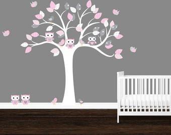 SALE, Owl Tree Wall Decal, Polka Dots, Gray, Pink, Girlu0027s Nursery