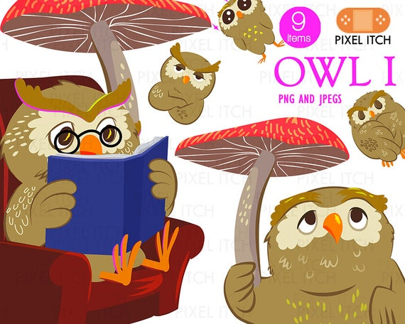 Owl Clipart Bird Cute Reading A Book Emoji