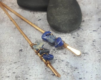 Gemstone Hair Stick, Lapis Lazuli Bronze Metal Hair Sticks,  Gift for Mom, Birthday Gifts for Mom, Bun Holder, Updo Hair Pins