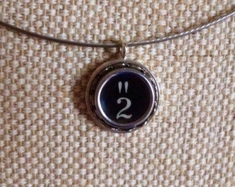 Number 2 & quotation mark typewriter key charm necklace / steel neckwire / monogram initial necklace / punctuation key / typewriter jewelry