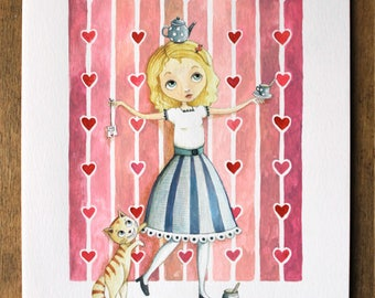 Alice is the original pencil and gouache illustration