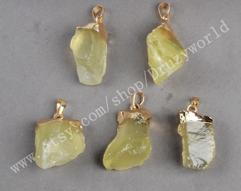 Wholesale Gold Plated Rough Natural Citrine Pendant Bead Handmade Freeform Raw Citrine Craft Yellow Quartz Gemstone Quartz Jewelry G0066