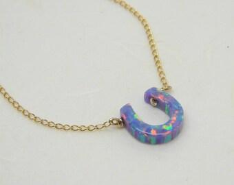 Horseshoe necklace, Lucky necklace, Opal horseshoe necklace, Good luck jewelry, Purple necklace, Everyday necklace