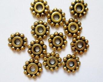 50 pcs Antique Gold Spacers 7 mm, Lead, Nickel & Cadmium Free Jewelry Findings, metal findings