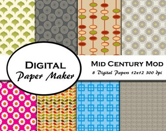 Mid-Century Modern Digital Paper Designs for scrapbooking, backgrounds, invitations, crafting, gift wrapping and more. Instant download.