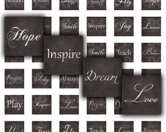 Inspirational Words - 1x1 inch squares - Handwritten Chalkboard Calligraphy - for pendants, earrings, jewelry, crafts, cards, scrapbooking