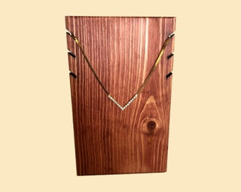 3 Necklace Display Stand / Wood Necklace Holder / Necklace Stand / Jewelry Display / Craft Trade Show Store Display / 10 Color Options
