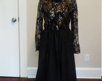 Black dress / lace dress / Prom dress/ sequins dress.