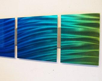 """Metal Wall Art Modern Abstract Metal Sculpture Art Panels """"Ocean Mist"""" 44"""" x 8"""" Blue Green Modern Home Decor Contemporary Wall Hanging"""