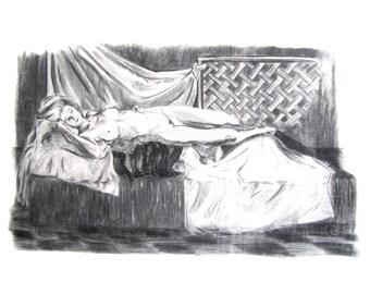 Lady & Drapes ~ Charcoal Portrait of Live Model / A3 Art Print