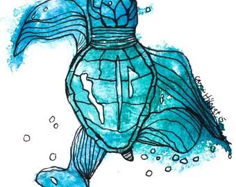Keep Going Sea Turtle: healing art print