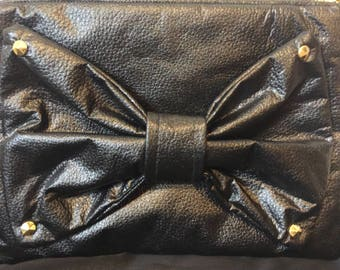 Leather Bow Clutch with Studs
