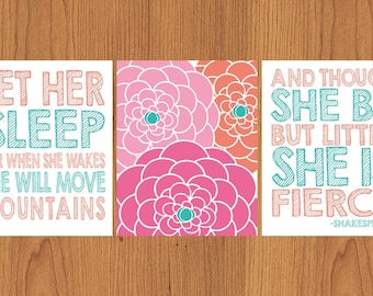 Let Her Sleep And Though She Be But Little She is Fierce Nursery Wall Art Coral Pink Teal Flower Burst 3- 8x10 Matte Finish Prints (38)