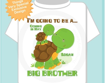 Boys Personalized I'm Going to Be A Big Brother Turtle Shirt or Onesie, With due date 01292014h