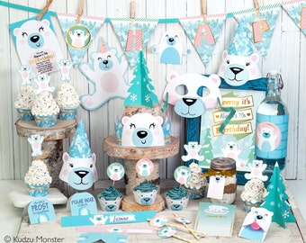 Polar Bear Party Printable Decor kit Arctic frozen party cute polar bear decorations banner invitation cupcake toppers party favors and more