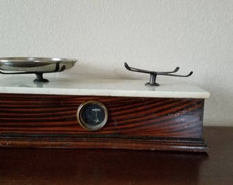 Antique Rosewood & Marble Balance Scale! Used for Merchantile Trade / Pharmacy Apothecary