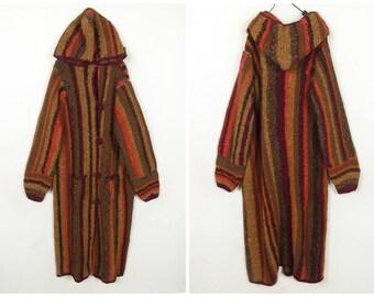 80's Vintage /Rainbow /Stripe /handmade/long wool sweater coat