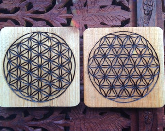 "4"" Wood Burned Coasters (Set of 2) - Oversized Handmade Wood Coasters, Flower of Life, Sacred Geometry Art"