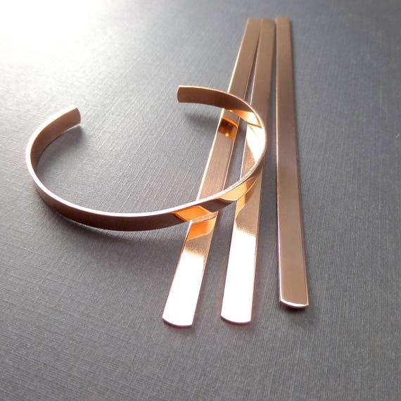 "6 Cuffs 1/4"" x 5-3/4"" Copper or Jeweler's Brass 18 Gauge Polished or Raw Bracelet Cuffs Metal Stamping Blank 6 Cuffs Flat - Made in USA"