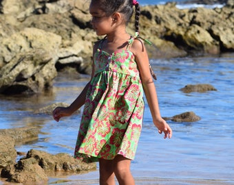 Bodice Dress Tropical Hibiscus Print Made on Kauai, Hawaii