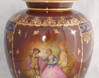 Huge ROSENTHAL Lidded Ginger Jar Vase with Hand Painted Courtly Couple  (39.5cm)