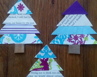 Garland of 7 Christmas trees #handmade paper trees