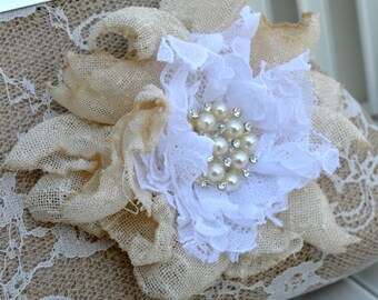 Burlap and Lace Clutch with Pearls/Rhinestone Flower (Made to Order)