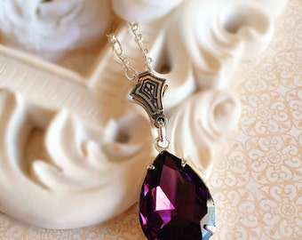 Bridesmaid Necklace - Purple - Fall Wedding Jewelry - Crystal - CAMBRIDGE Purple