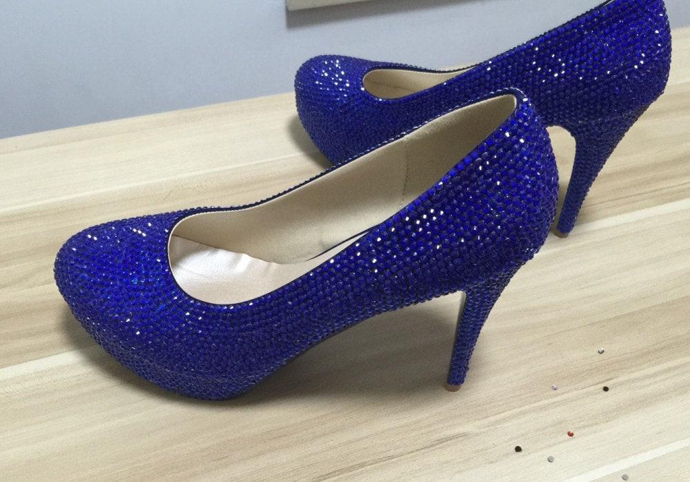 Blue Shoes Women Pumps Heels Blue Crystal Rhinestone Prom
