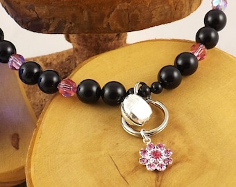 Rose Pink and Black Pearl Le Chat Chic Swarovski crystal luxe kitty collar with strong magnetic clasp
