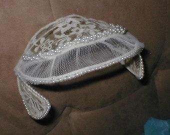1940's Ivory Bridal Headpiece